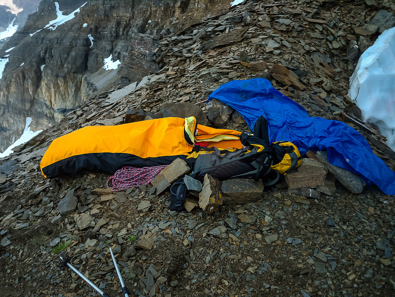 My bivy - note the rocks to keep me from going over a cliff!
