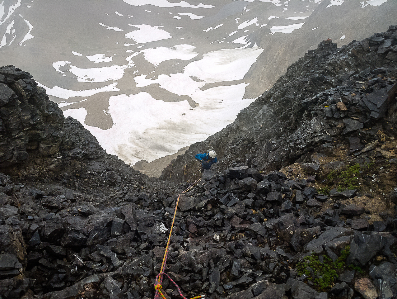Rapping the horribly loose east face of Bident Mountain.