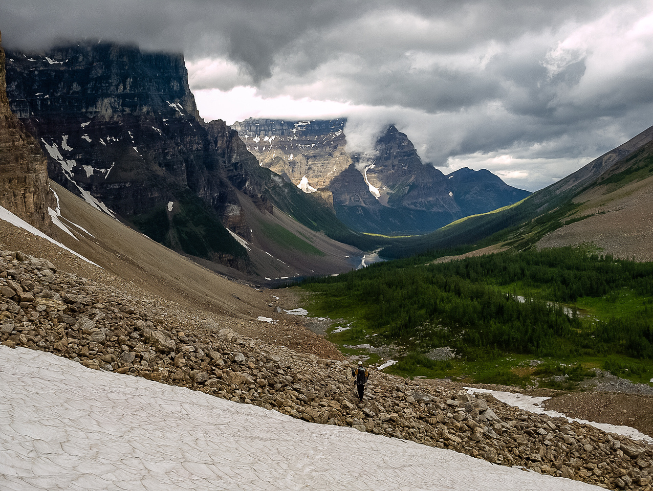 Descending from the col towards Consolation Lakes.
