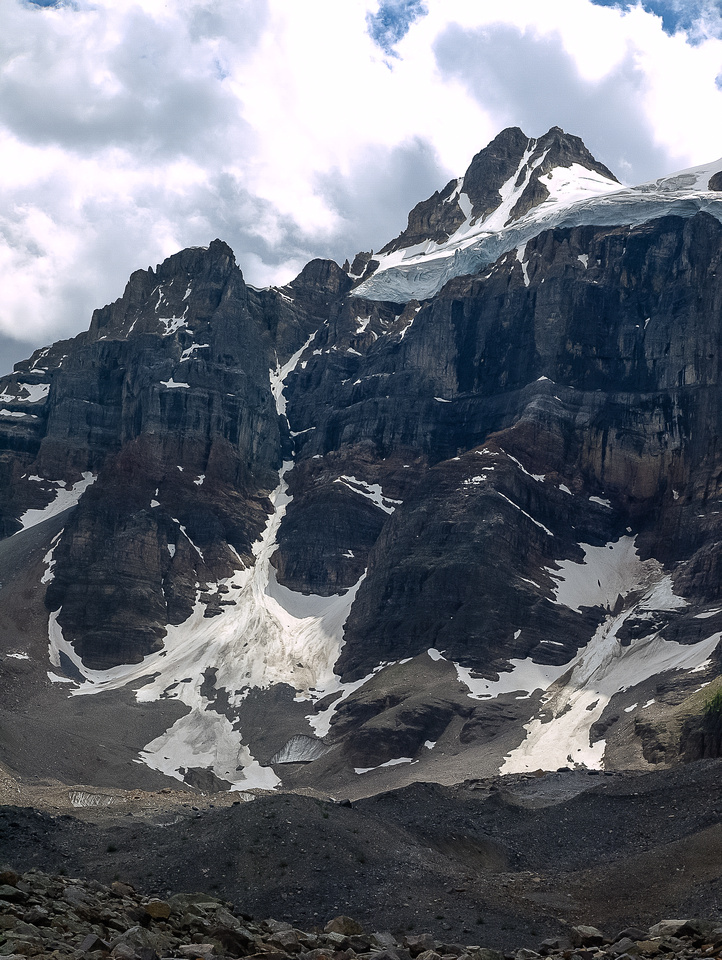 A look back at the imposing NE ridge and north face of Bident.