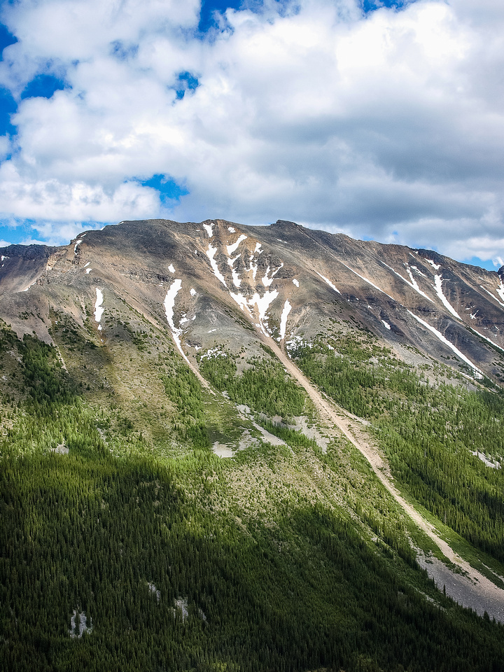 The obvious route up the avy path on Panorama Ridge.