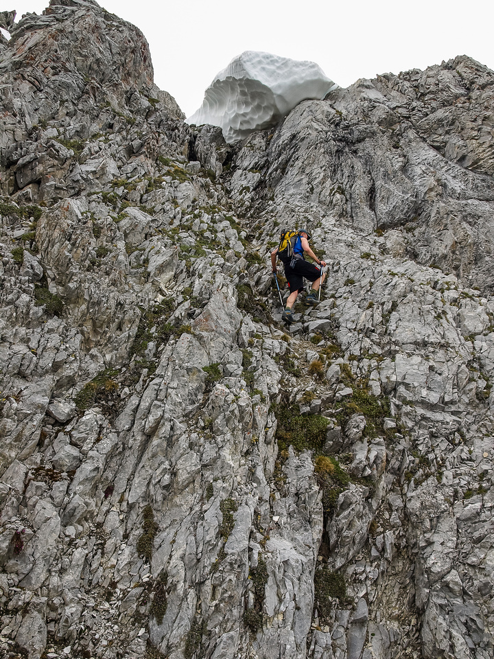 JW on the difficult alternate ascent to the west summit.