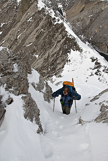 Wietse comes up the second pinnacle. We really didn't see any ways around the pinnacles because of all the fresh snow.