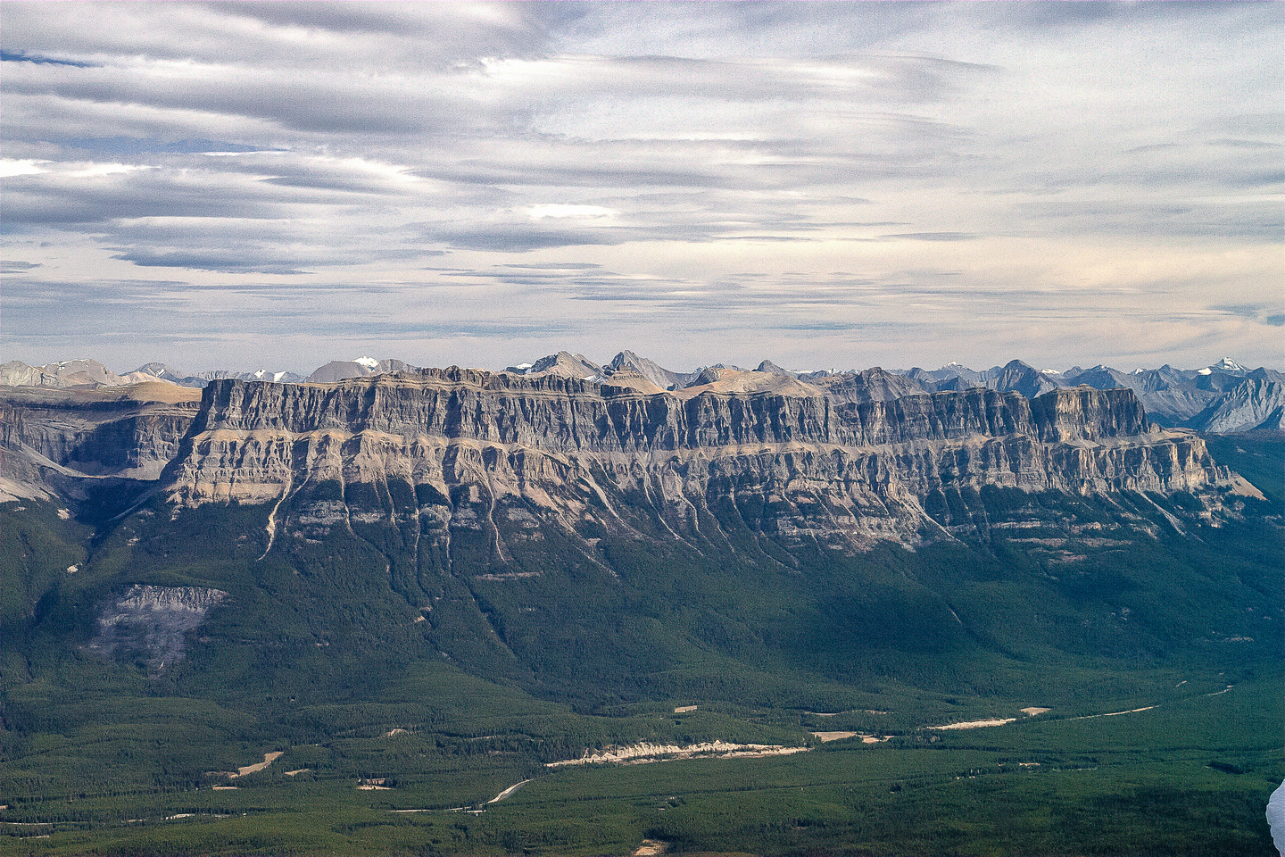 The always-impressive Castle Mountain massif across the Bow Valley and the TCH.