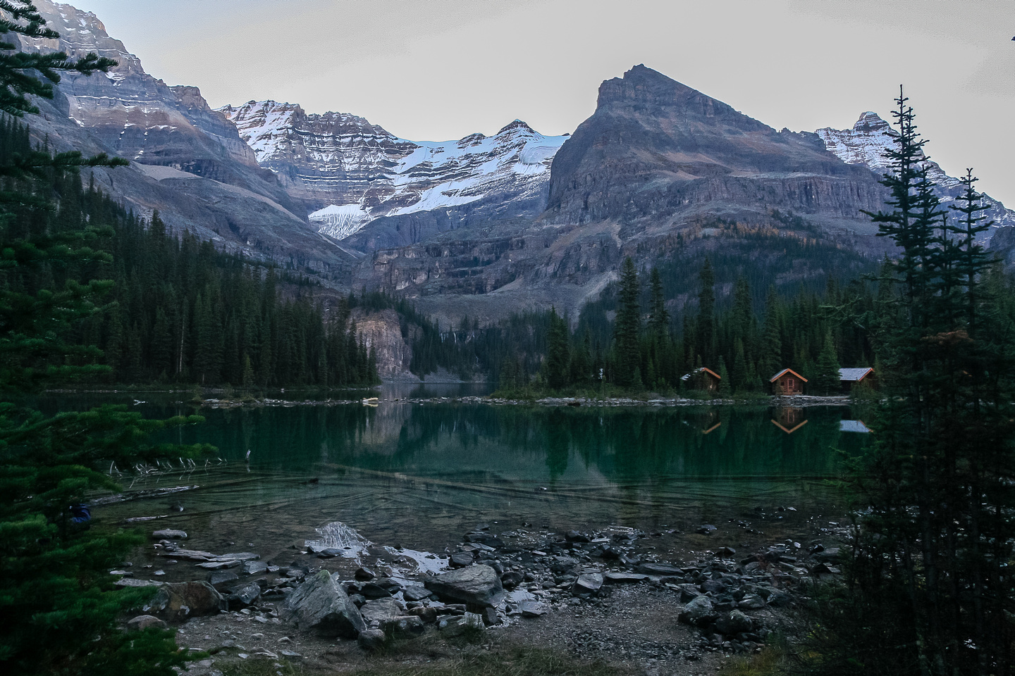 The morning started off quite cool but that didn't hurt the views at Lake O'Hara.