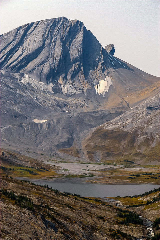 Great view over Aster Lake and Creek of Warrior Mountain and its striking appendage, Waka Nambe.