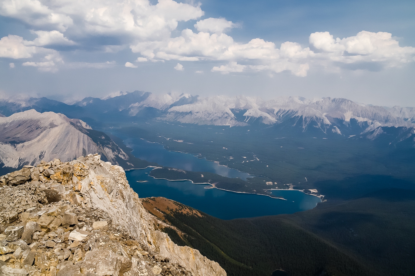 Another view over the Upper and Lower Kananaskis Lakes (car parked to the right) with the Opal Range beyond.