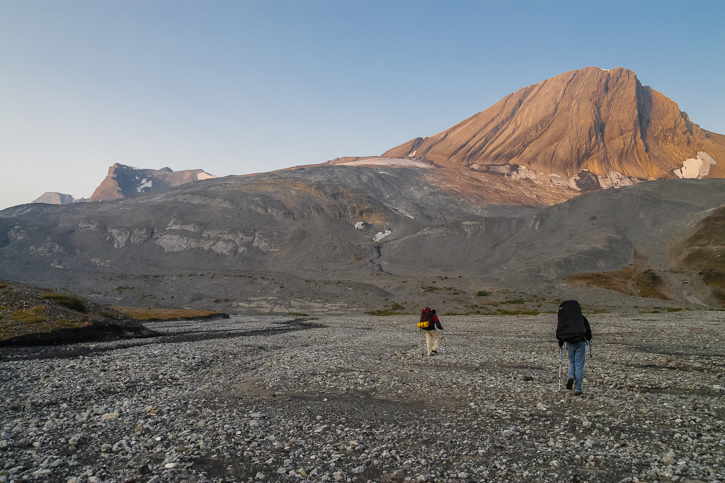 Hiking the glacial flats under Warrior towards the col with Northover which is just out of the photo to the right.
