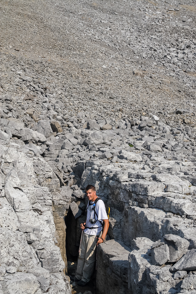 Jon finds a rock crevasse on the lower slope of Worthington.