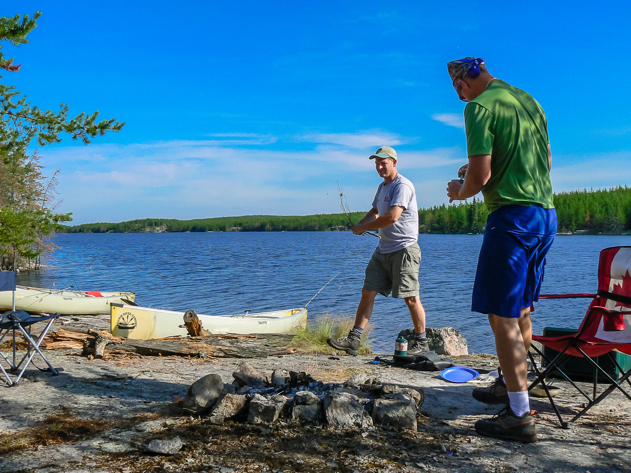 Chilling in camp on Wilson Lake Tuesday morning before starting the day. It's gonna be a hot one!