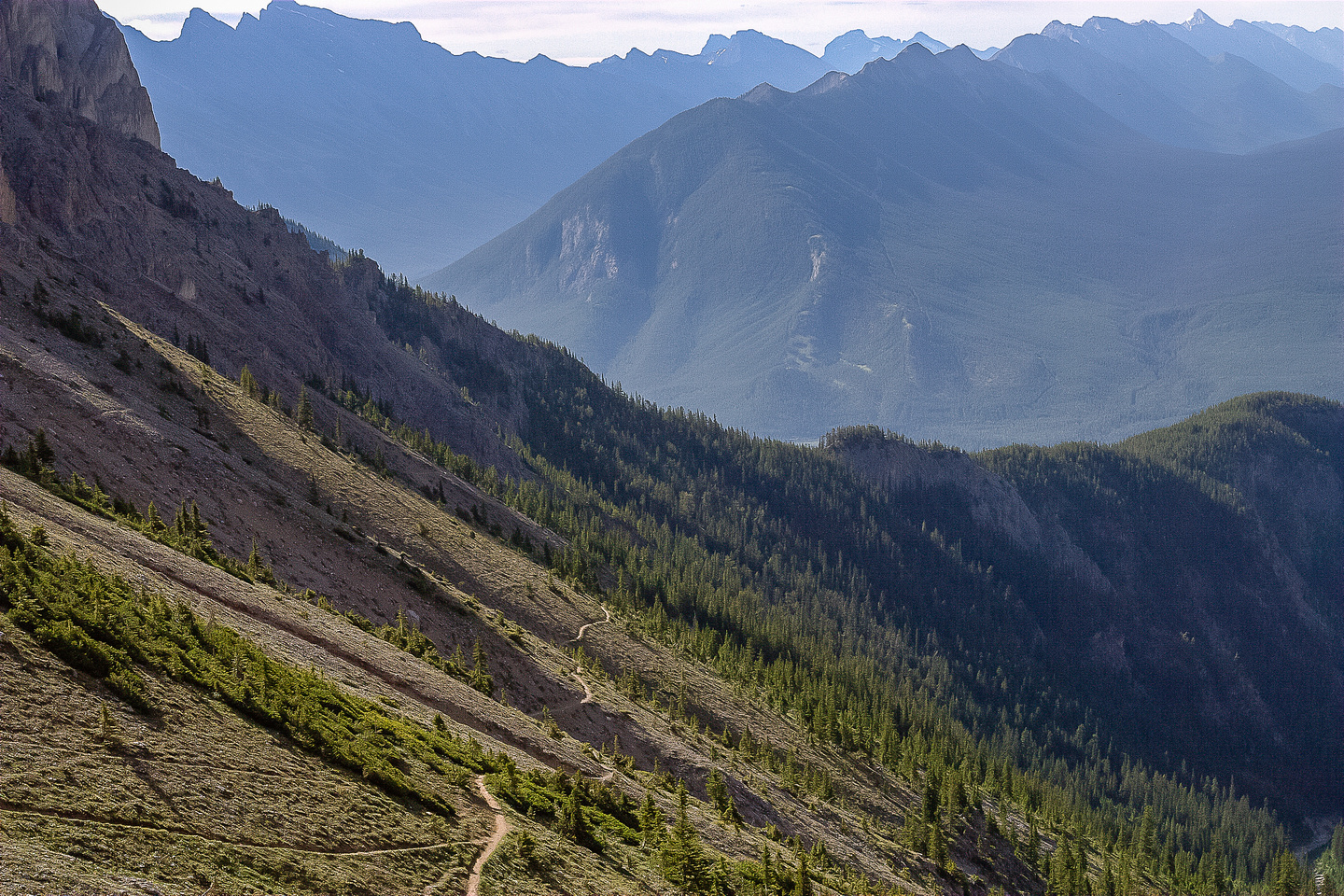 The trail up to Cory Pass is clearly illuminated as seen from the pass.
