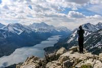 Jason takes in the incredible view down Waterton Lakes towards Mount Cleveland.