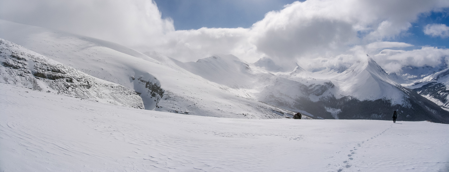 A south-facing panorama from about halfway up the big snow slope. You can see the upper bowl on the left and Wilcox Pass and Nigel Meadows in the distance at center.