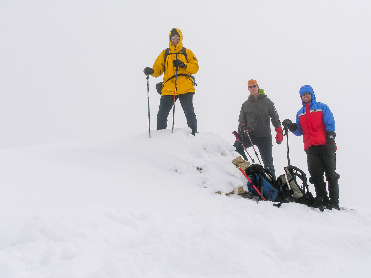 Kelly, Sonny and Vern at the summit of Sunwapta Peak.