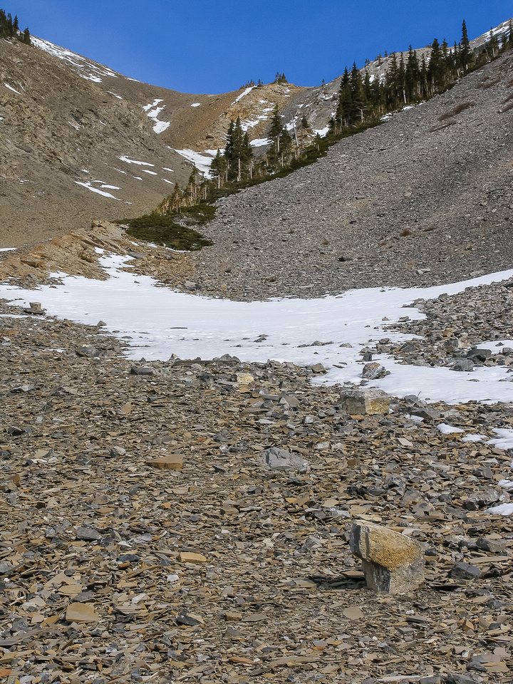 Grinding up the scree gully.