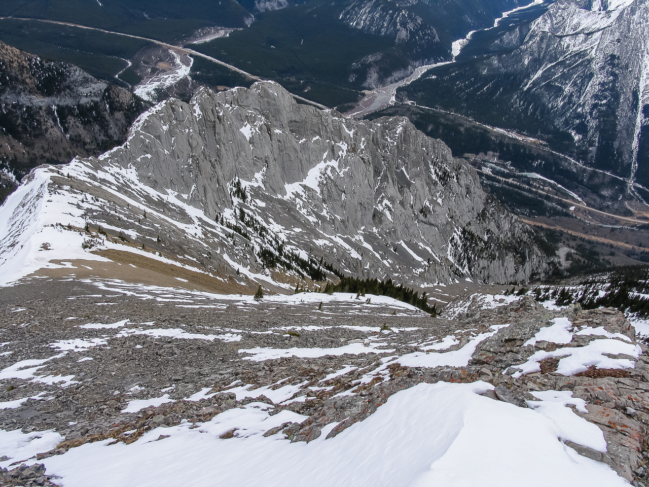 Looking forward to going down the scree gully.