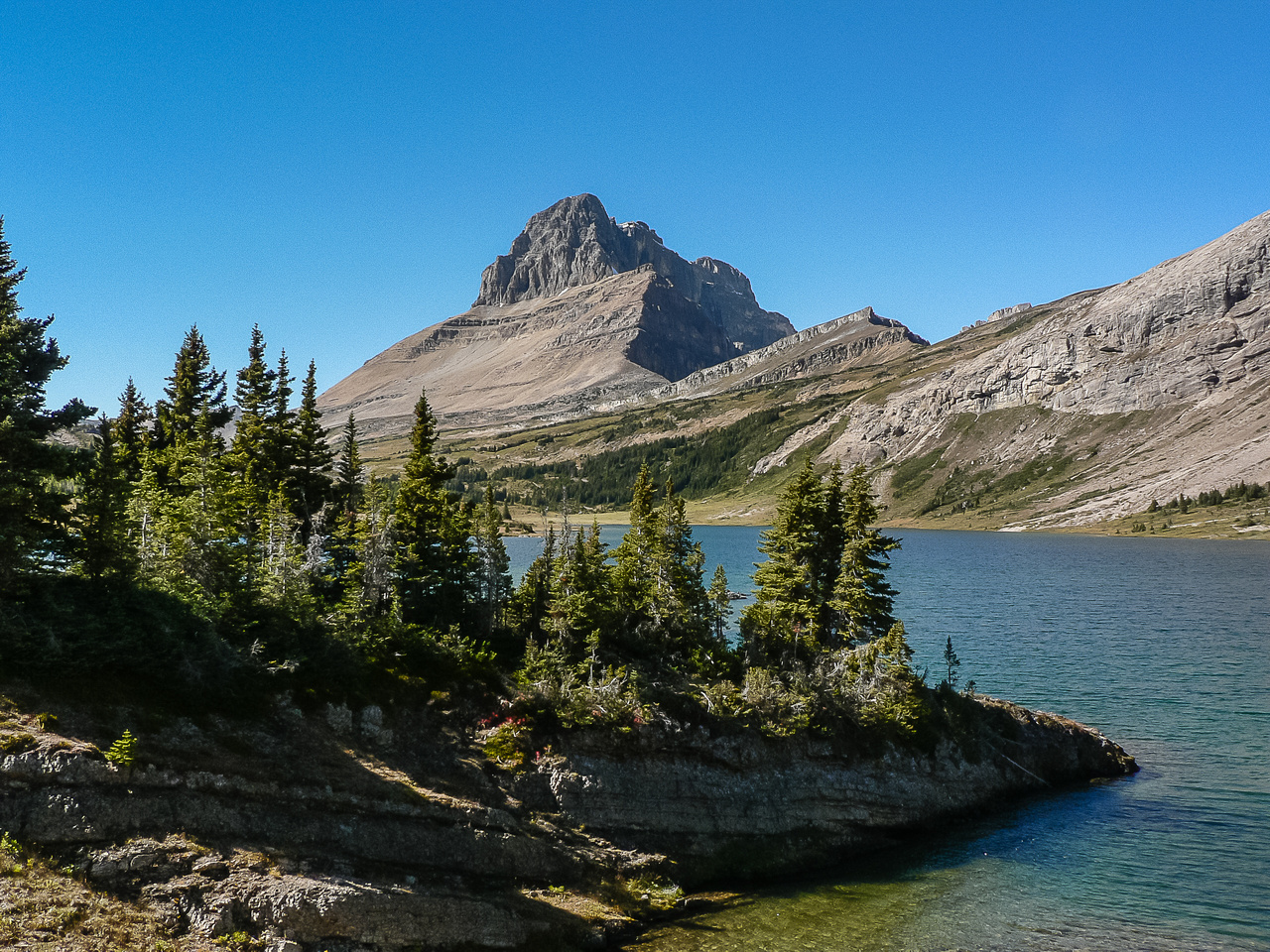 Views of Ptarmigan Peak over Baker Lake.