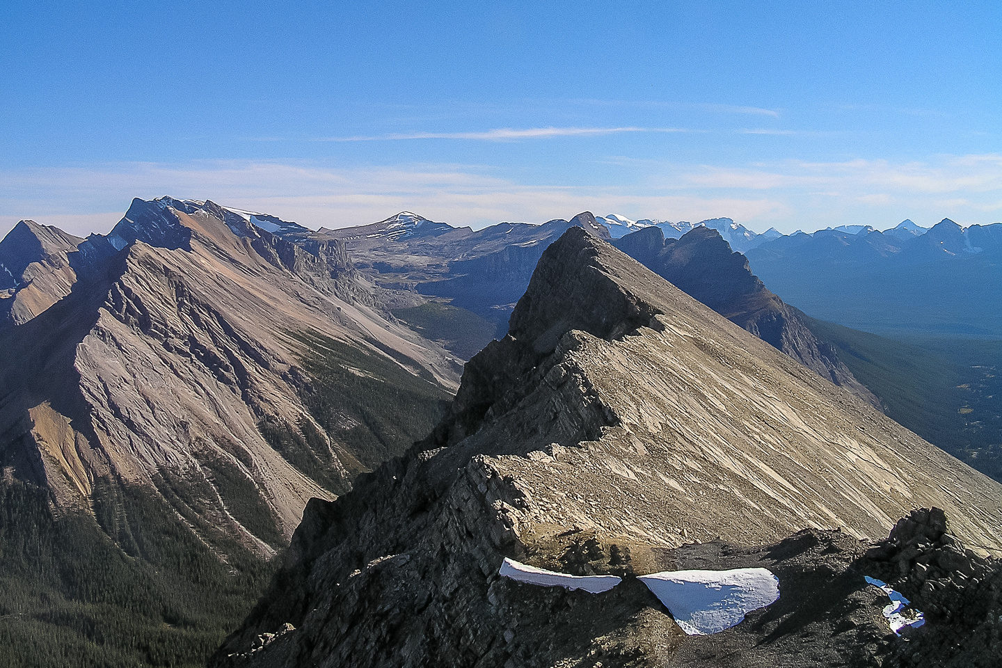 Looking back along Anthozoan's summit ridge to the true (south) summit from the north one.