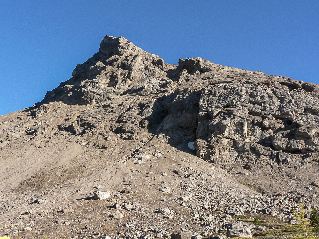 Looking back up Brachiopod's true (north) summit slope. It's not a very high mountain...