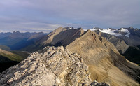 Now on the main summit of Oyster looking at Molar in the far distance (L) and the Drummond Icefield on the right.