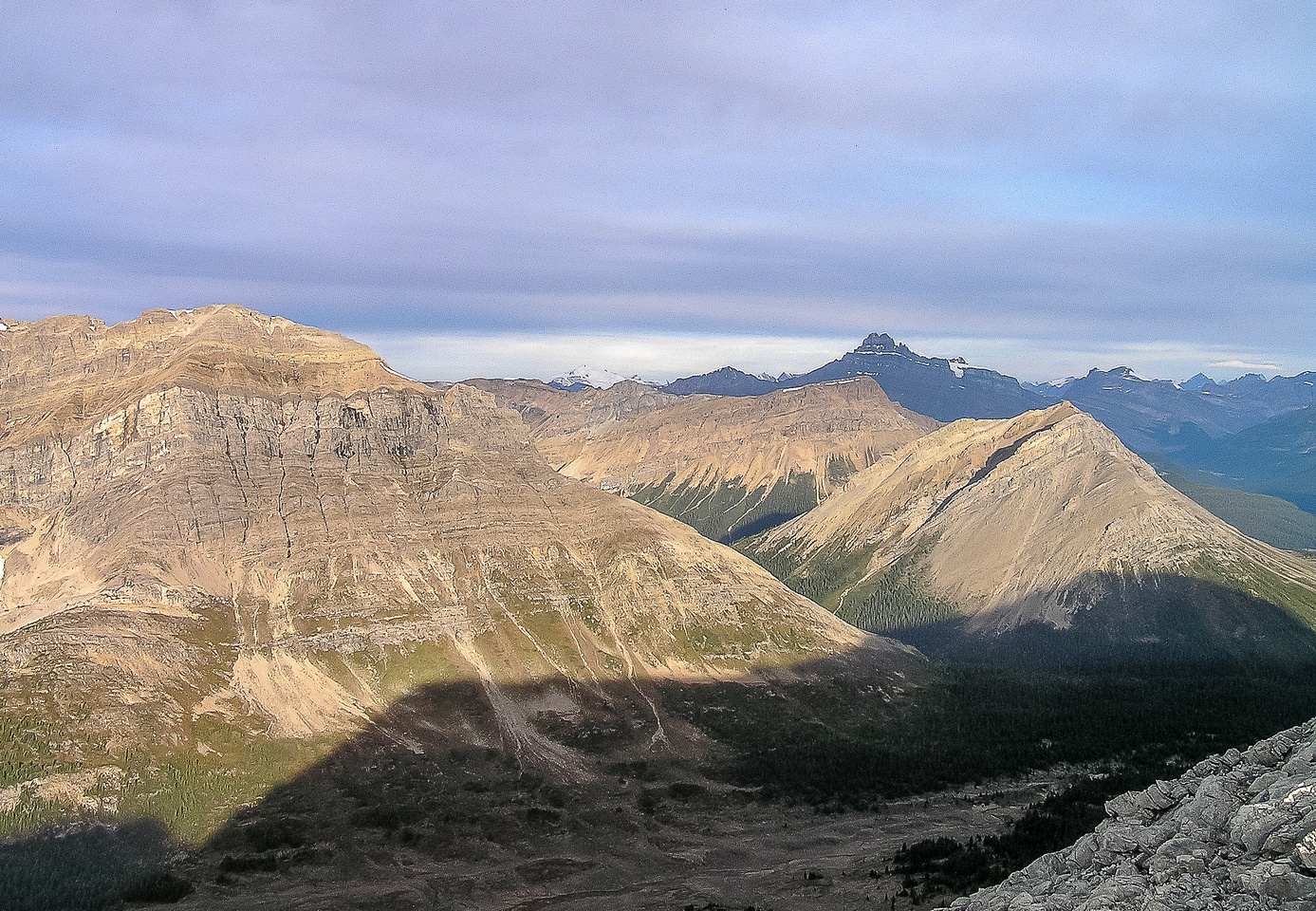 Hector in the far distance with our next object (Skoki) in the foreground and Fossil rising on the left.