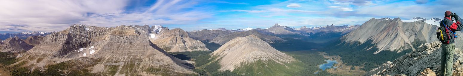 A great summit pano showing (L to R) Brachiopod, Fossil, Skoki, Hector, Red Deer Lake, Cyclone, Pipestone and the Drummond Icefield.