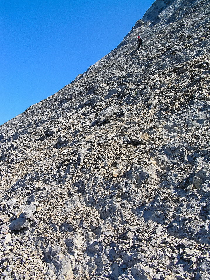 Steep, loose scree to exit the west face of Smuts.