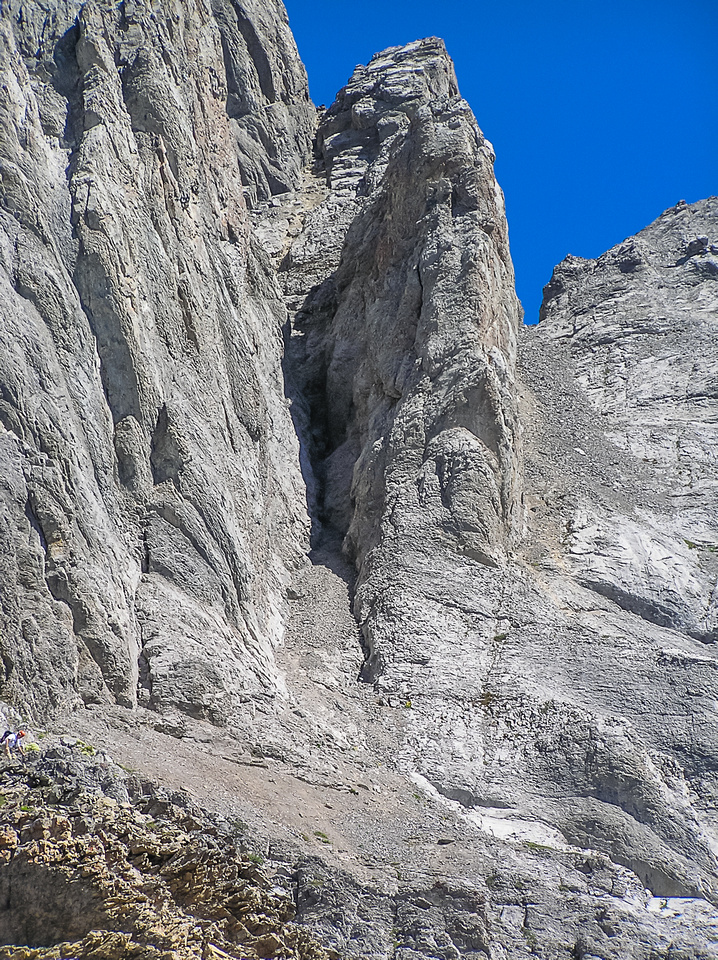 The main crux gully on The Fist. People also take the shallower gully further to the right.