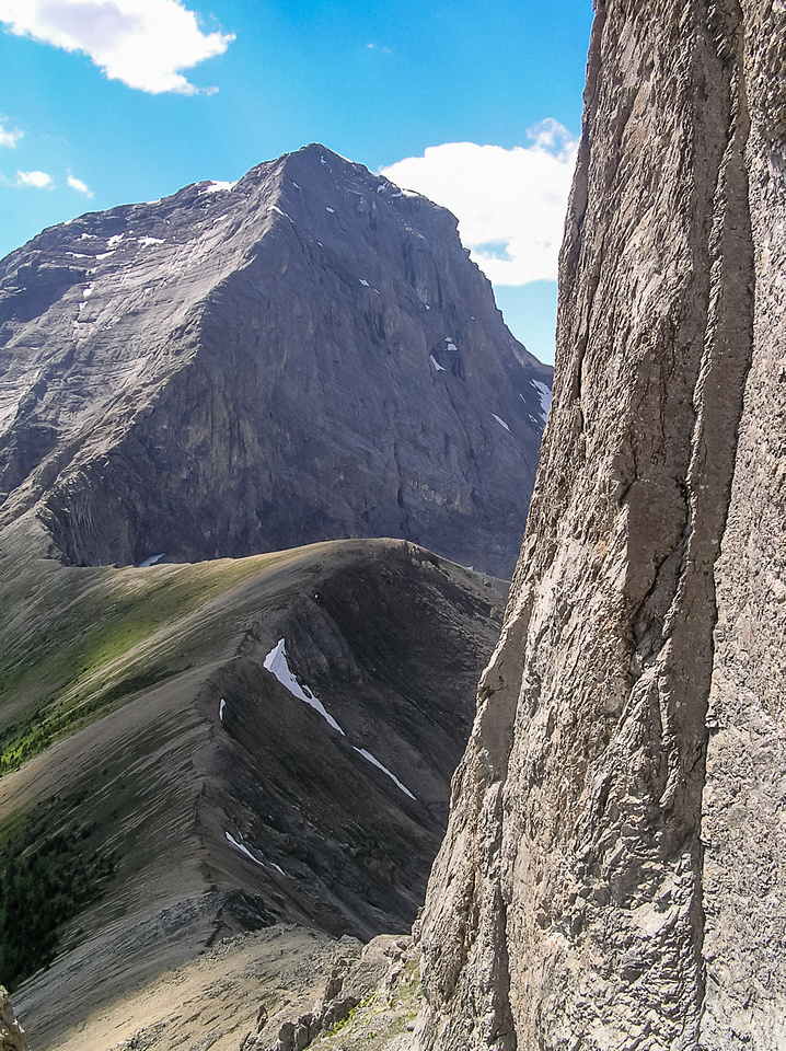 Mount Smuts from the crux chimney on The Fist.