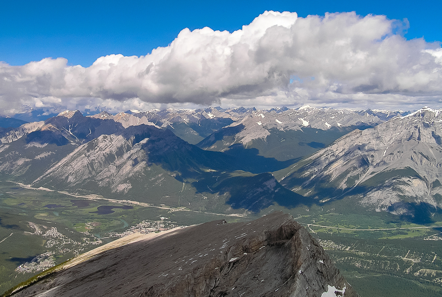 Cory (L), Norquay, Brewster and Cascade rise over the town of Banff.