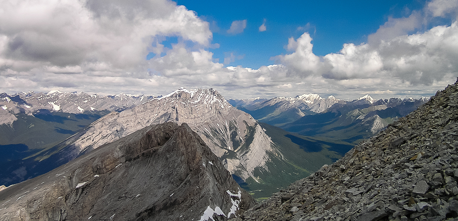 Looking over the northernmost peak towards Cascade Mountain.