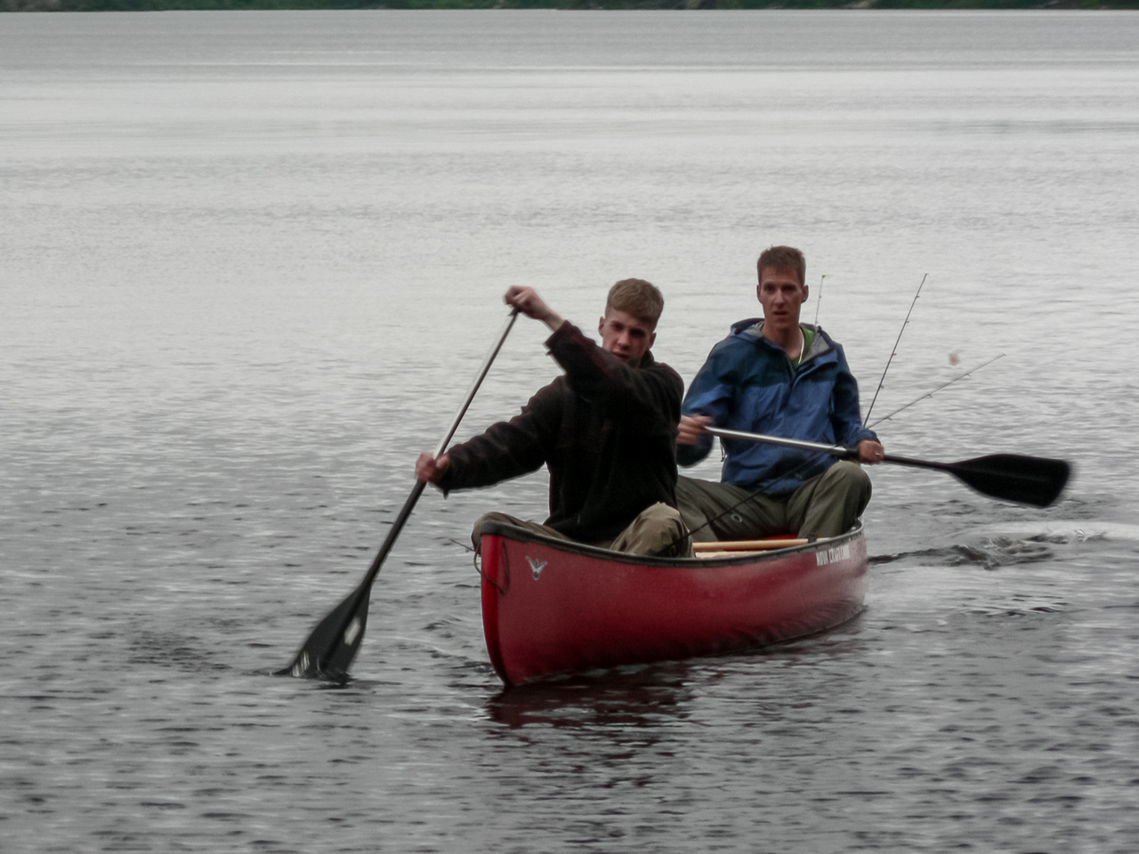 Rod and Vern come into camp after getting pretty much skunked for fish on Garner Lake.