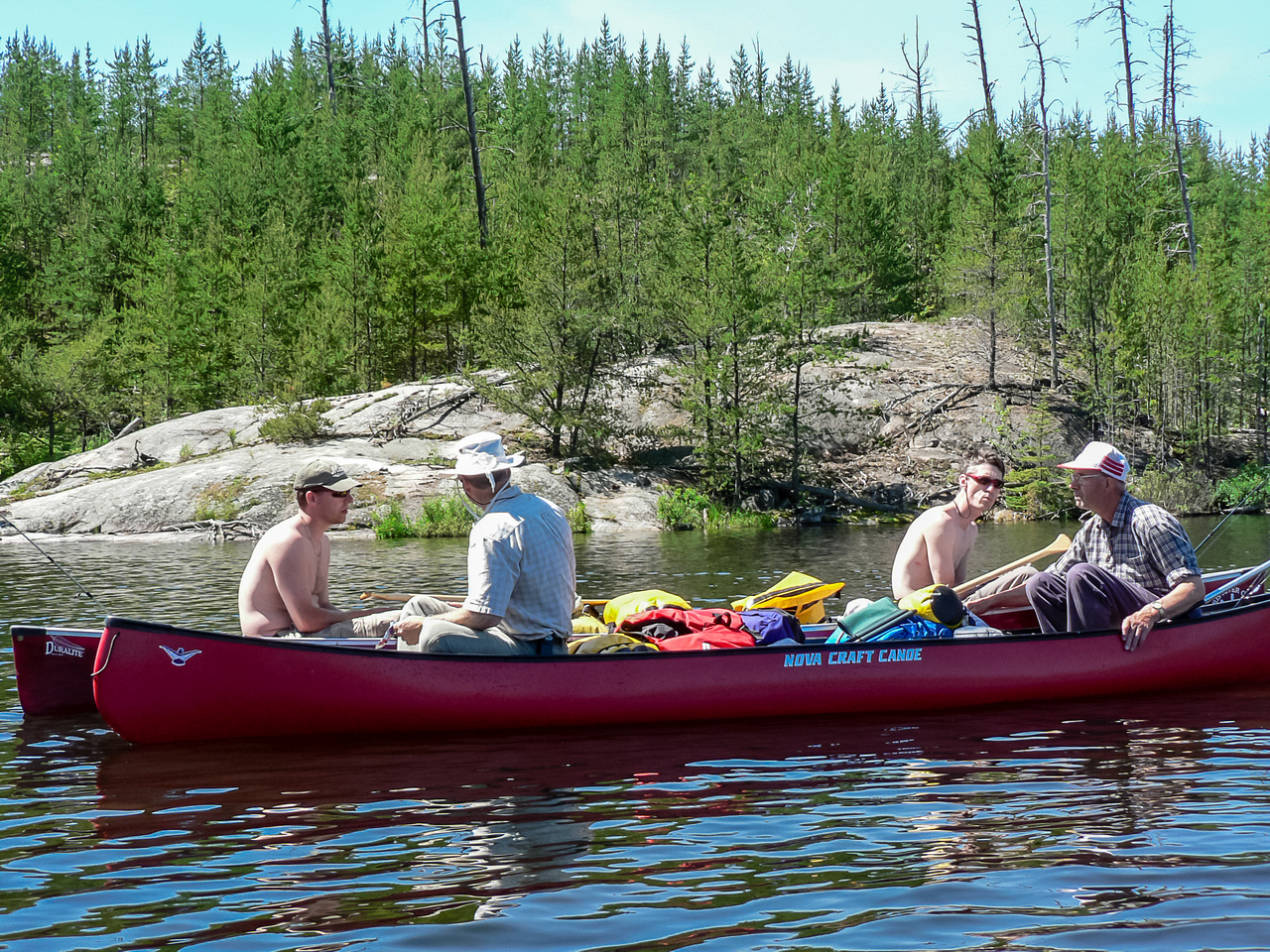 Planning our route as we continue down Mather Lake.