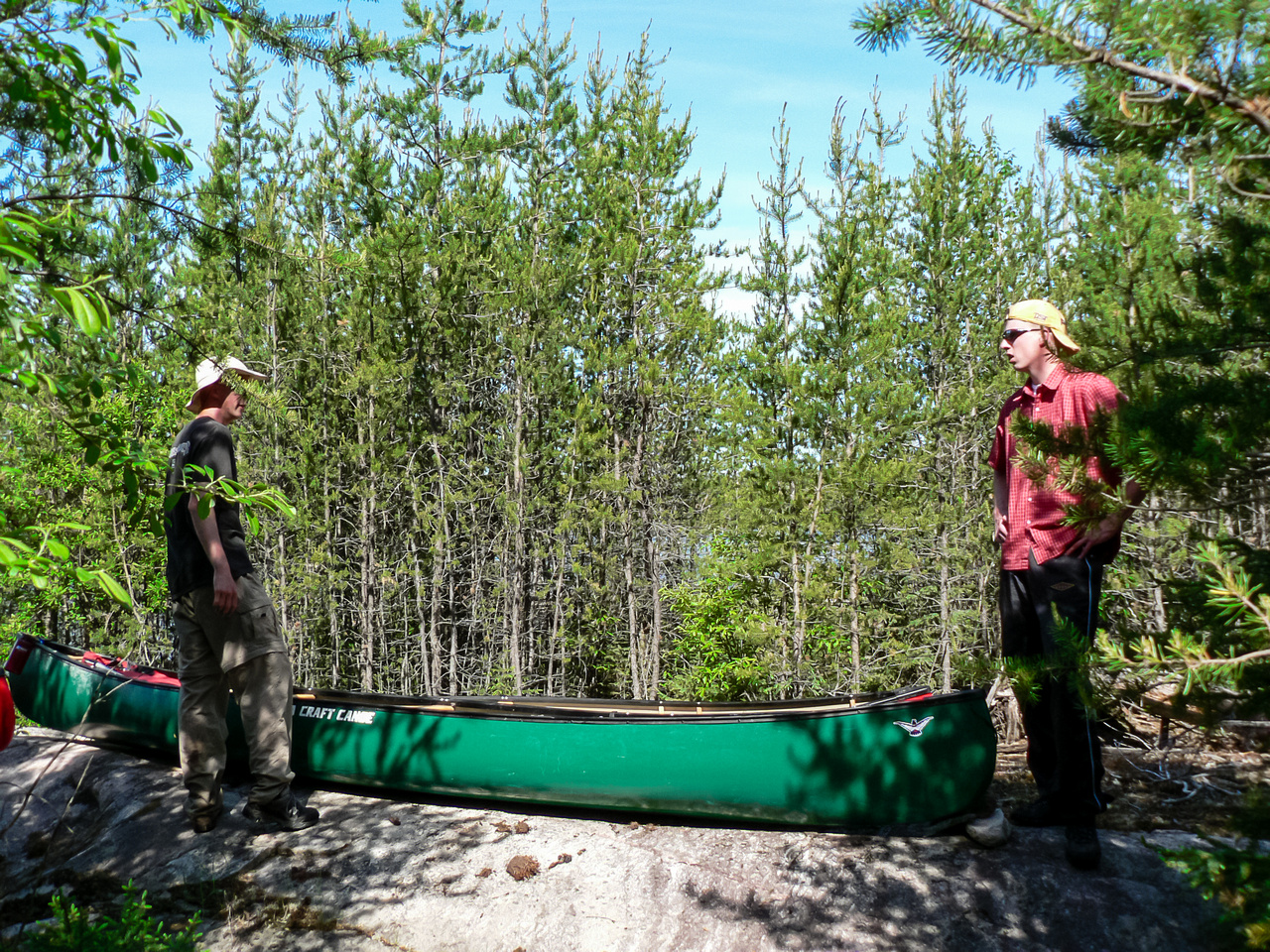 Typical WCPP portage includes forest, bog and rocks. This is the 300m portage into the Haggart River.