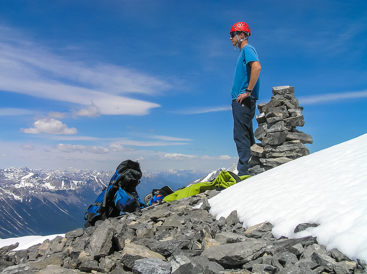 Vern on the summit of Mount Engadine.