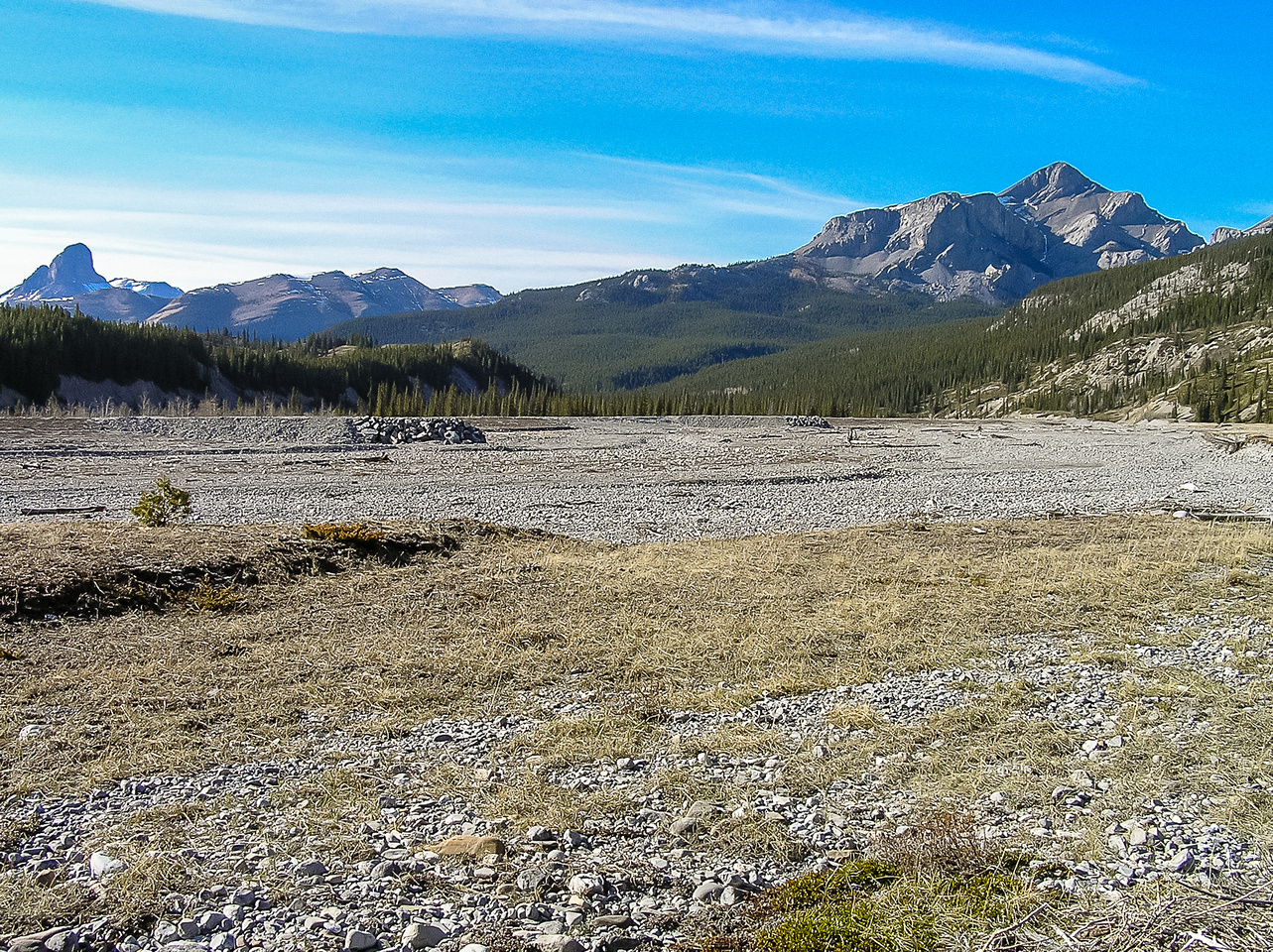 Black Rock Mountain is a long ways off when you first come into the Ghost River valley. Devils Head at far left.