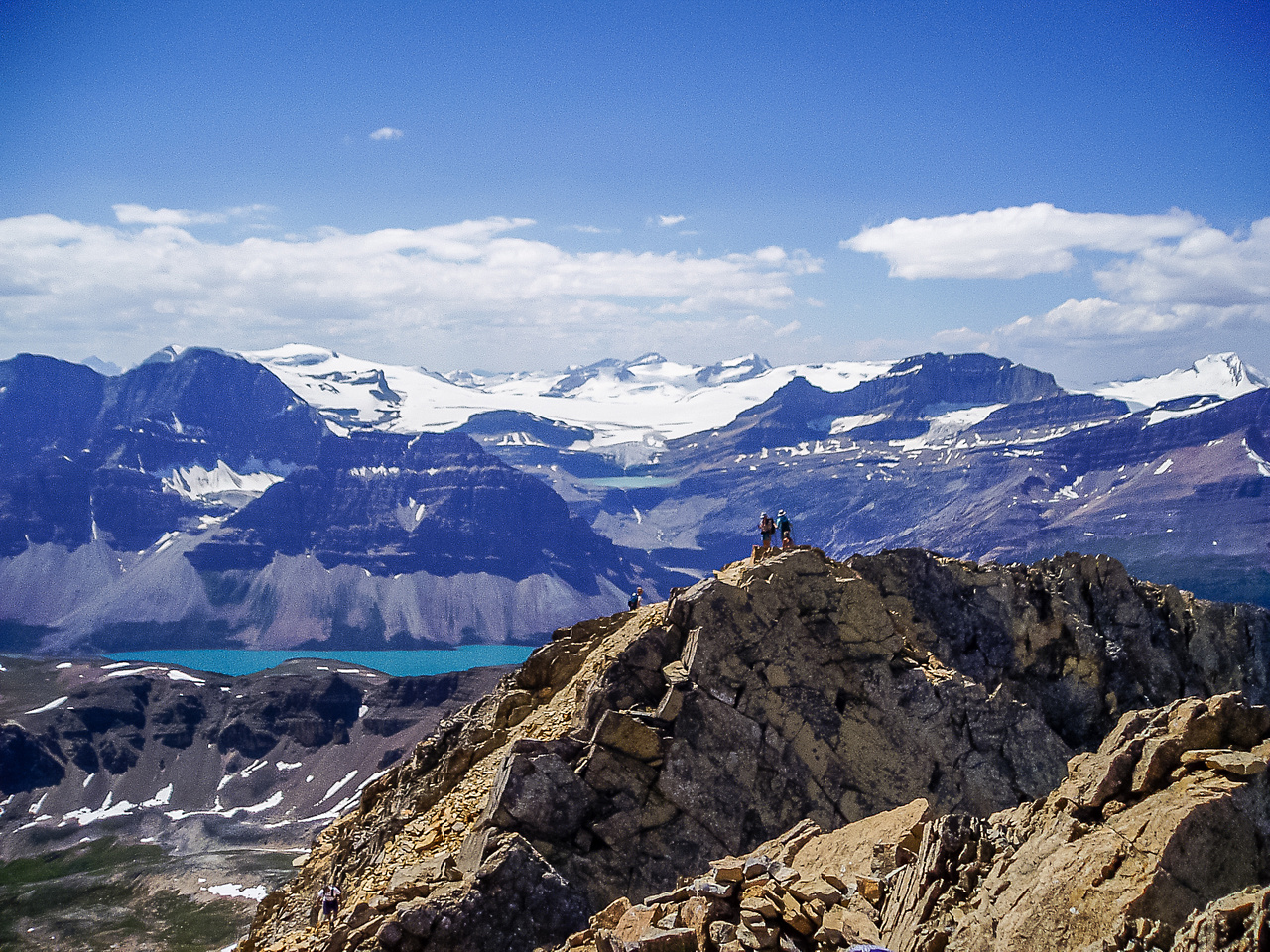 Views over the false summit to Bow Lake and the Wapta Icefield.
