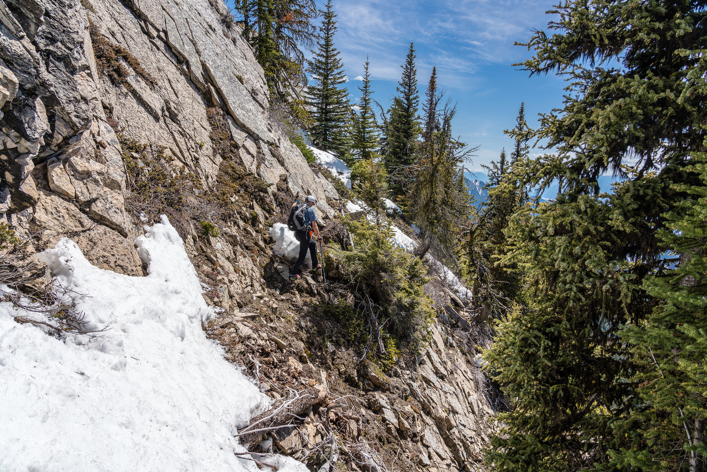 Traversing on the west side of the ridge.