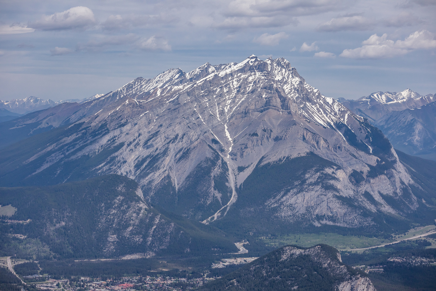 Cascade Mountain over Tunnel Mountain and the town of Banff.