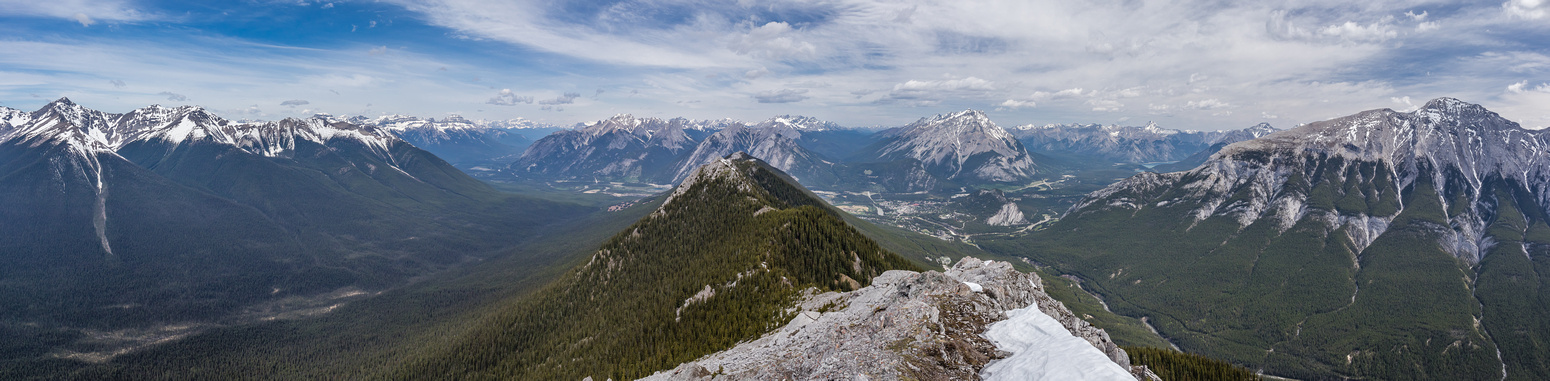 Panorama looking down Sundance Creek (L) and the Spray River (R) towards Banff.