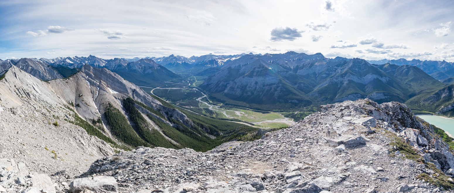 South and West Baldy at left with Wasootch, Mary Barclays and many other mid range Kananaskis peaks visible.