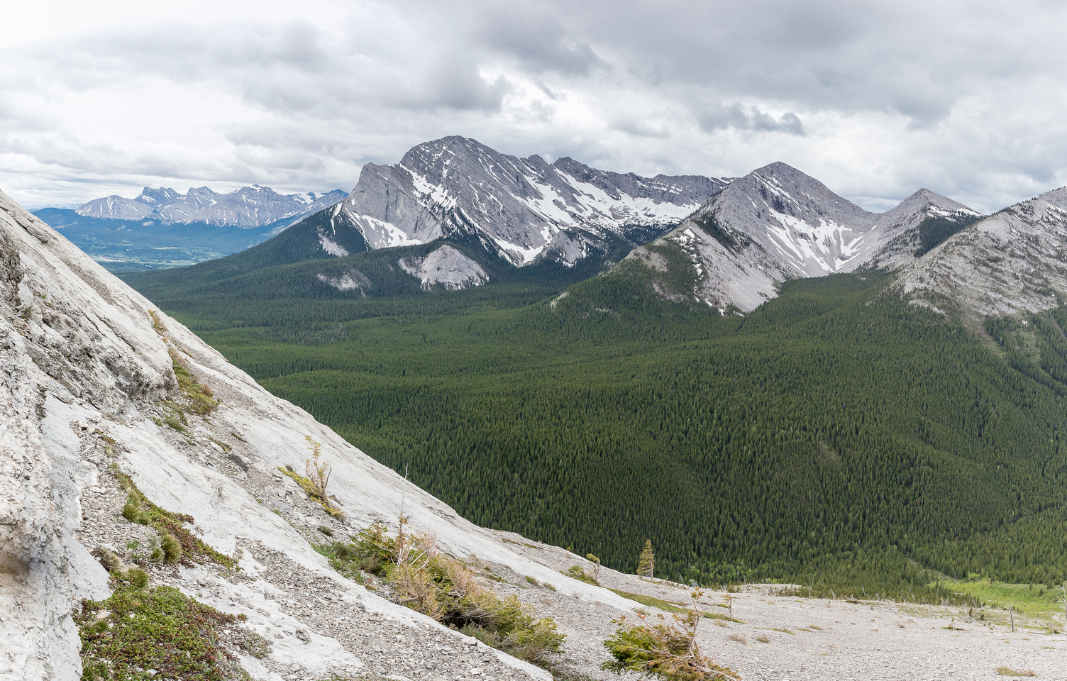 Looking across slabs I just ascended to Tecumseh Mountain.
