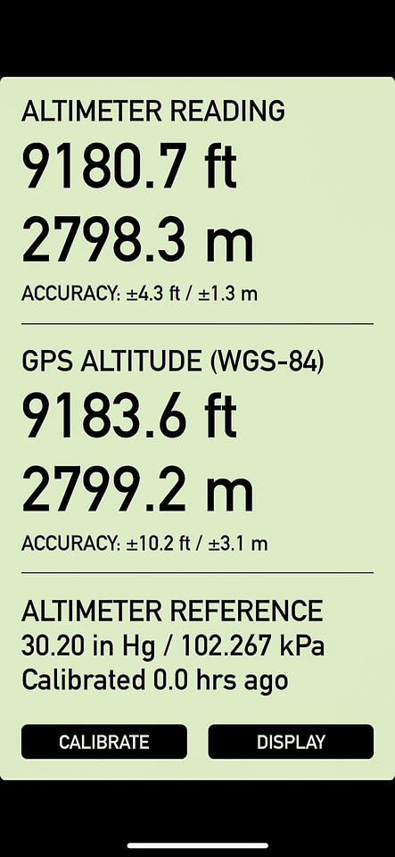My altimeter reading on the highpoint, calibrated with the nearest airport.