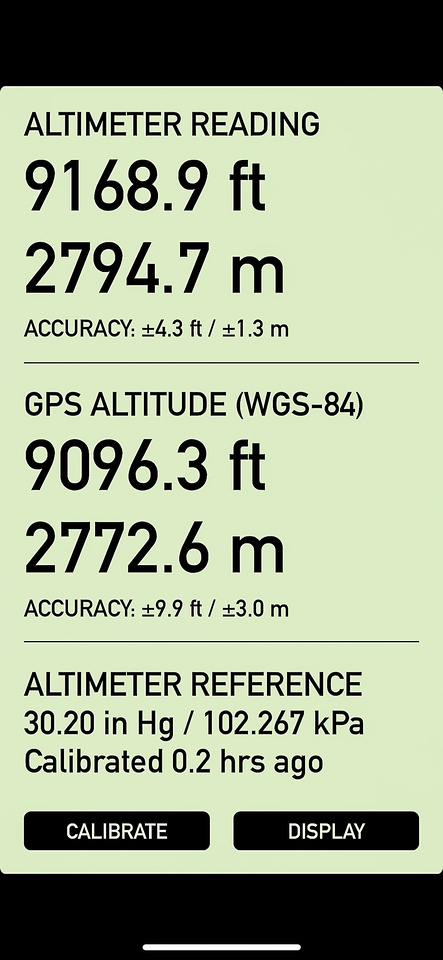 The altimeter reading from the cairned summit - about 4m lower than the true one.