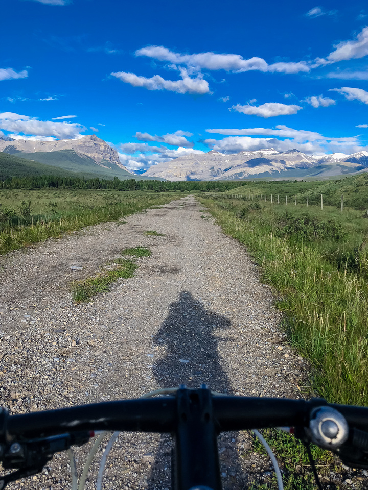 Biking through Ya Ha Tinda towards a distant Warden Rock and the Banff Park boundary.