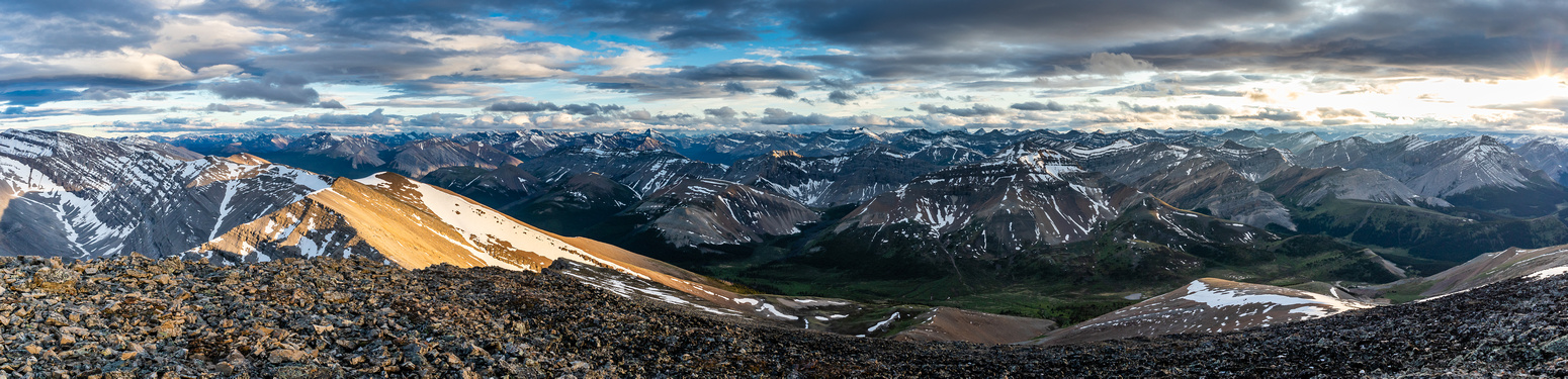 Incredible late day lighting over the Tomahawk Pass area looking to the eastern Banff ranges.