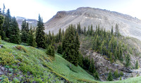 Hiking down from Tomahawk Pass, look back up towards the pass area at left.