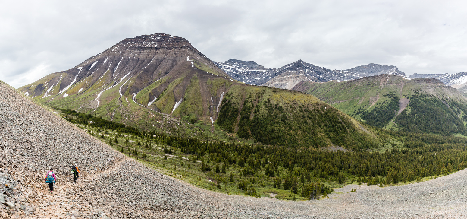 Descending Shale Pass towards Peters Creek and Chirp Peak.
