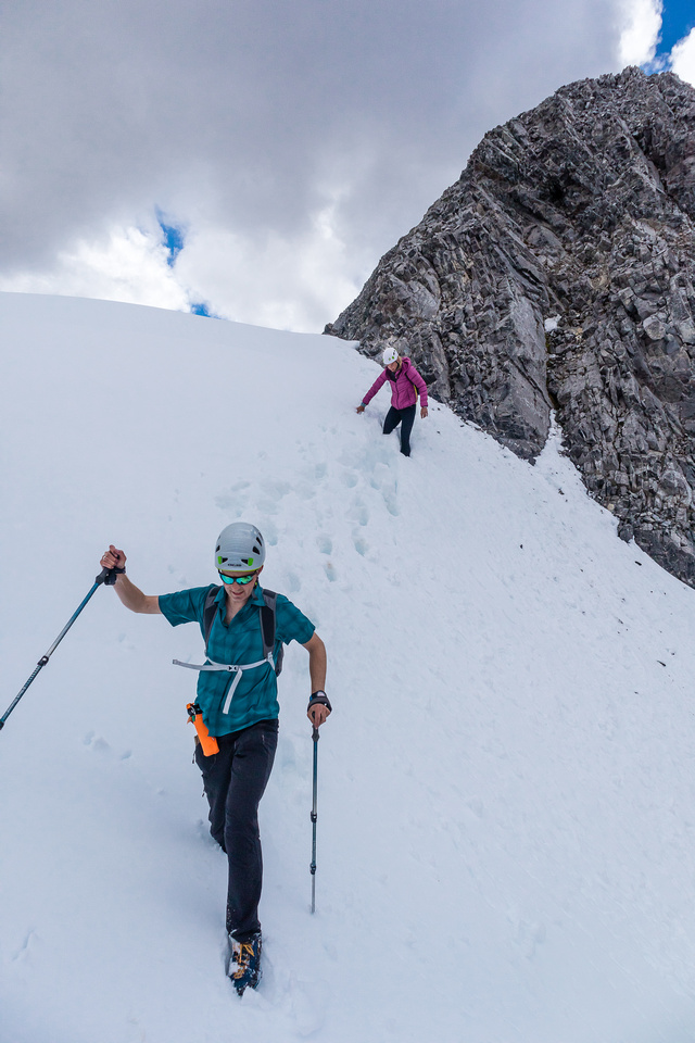 Exiting the crux onto a massive cornice (didn't fully know at the time...).