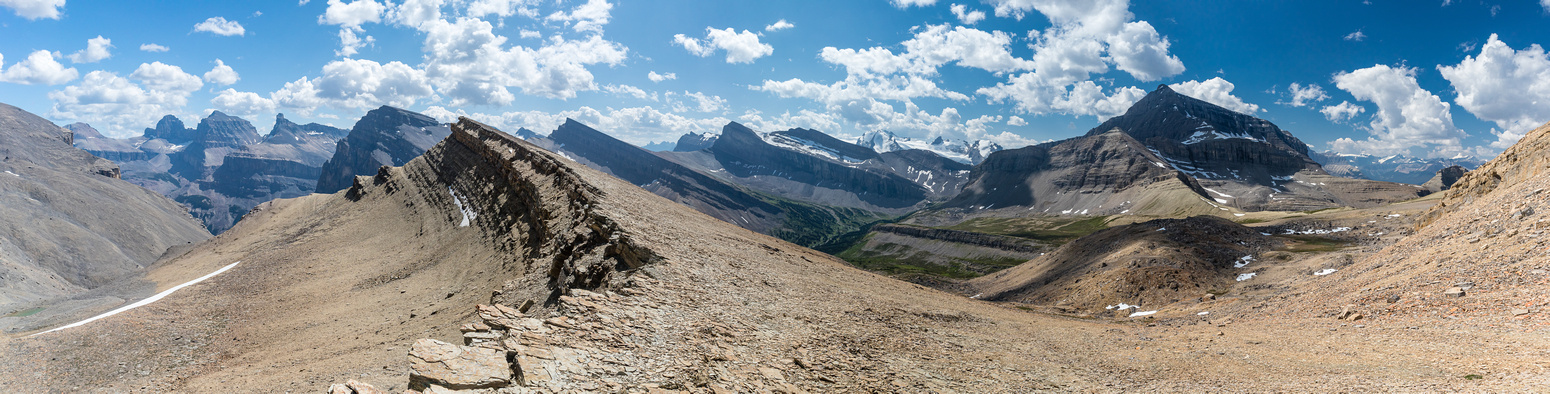 Great views from the south shoulder of Sibbald to the White Goat peaks at left.